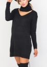 Womens Sweater Solid Halter Long Sleeve V Neck