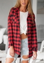 Women's Button Down Long Sleeve Shirt Slim Fresh Flannel Lattice Blouse
