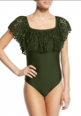 Women's Ruffle Falbala One Piece Swimsuit Off Shoulder Sexy Monokini Swimsuit
