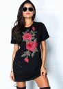 Womens Rose Embroidery Hole Short Sleeve Loose T-Shirt Dress
