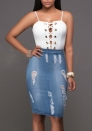 Women Sexy Lace Up Tank Top and Denim Skirt Party 2 PCS Set
