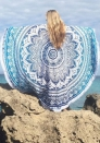 Bird Of Paradise Kingfisher Mandala Roundie Round Tapestry Beach Towel With Long Tassel Fringes By Bohomandala