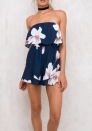 Women's Floral Print Off Shoulder Bodycon Mini Cocktail Party Dress