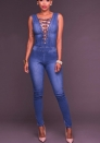 Women Sexy Lace Up Sleeveless Bodysuit Denim Jeans Jumpsuit Rompers Hole Jean Tank Jumpsuit