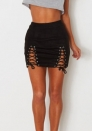 (Only SKirt)Womens Sexy High Waist Lace Up Bodycon Faux Suede Split Tight Mini Skirt