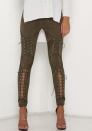 Women High Waist Lace-Up Stretchy Suede Bandage Pencil Trousers Skinny Pants