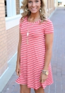 Women's Casual Stripe Short Sleeve Dresses