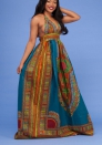 Women's African V-Neck Halter Traditional Dashiki Maxi Dress