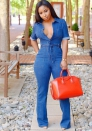 Womens Blue Denim Button Down Jumpsuit
