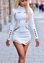 Women's Metal Buckle Cut Out High Neck Long Sleeve Mini Club Party Dress