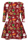 Women's Christmas Santa Claus Print Pullover Flared A Line Dress