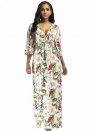 Womens 3 4 Sleeve Faux Wrap V Neck Floral Print Maxi Long Dresses