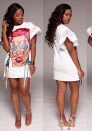Women fashion T-shirt fashion White print dresses