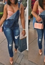 Women's Blue Sexy Sleeveless Bodysuit Denim Romper Hole Jean Tank Jumpsuit