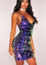 Women's Sexy V neck Sleeveless Sequin Bodycon Party Mini Clubwear Dress