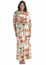 Women's Casual Half Sleeve Tie Waist Floral Maxi Dress