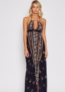 Women's Boho Print Halter Neck Split Summer Beach Maxi Dress
