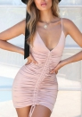 Women's Fashion Ruffle Ruched Strap Sleeveless Bodycon Dress