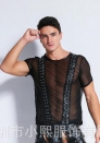 (Only Tops)Men's Faux Leather Top