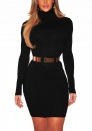(Not Belt) Women's Slim Fit Crew Neck Long Sleeve Ribbed Knit Sweater Dress