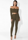 Women Short Sleeve Bodycon Green 2 Piece Long Pant Jumpsuit Sportwear