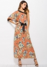 Women's Elegant Floral Print Long Sleeve Button Up Party Maxi Dress