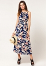 Women's Summer Casual Floral Print Racerback Sleeveless Tunic Maxi Dress