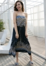 Women's Beach Chiffon Floral Lace Trim Tube Maxi Strapless Casual Cover Up Dress