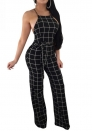 Women's Stripe Halter Neck Sleeveless High Waist Wide Leg Jumpsuit