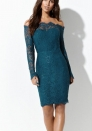 Women's Off Shoulder Bodycon Dress Floral Lace Vintage Midi Dress
