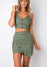 Womens Cami Crop Top Skirt 2 Piece Front Buttons Back Tie Knot Outfit Midi Dress Set Beach Dress
