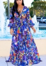 Women's Split Floral Print Flowy Party Maxi Dress