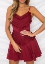 Womens Dresses Lace Floral V-Neck Spaghetti Strap Bowknot Backless A-Line Mini Dress