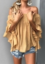 Women's Tops-Casual Floral Off Shoulder Flare Half Sleeve Irregular Blouse T Shirts