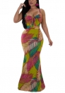 Womens Summer Contrast Sleeveless Maxi Dress Bohemian Floral Print Wrap Bodice Dress