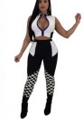 Womens 2 Piece Outfits Bodycon Checkered Race Long Pants Sets Tracksuits