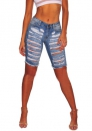 Womens Casual Denim Ripped Destroyed Bermuda Shorts Jeans