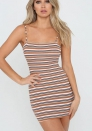 Women Sexy Spaghetti Strap Sleeveless Striped Long Cami Slip Short Mini Dress