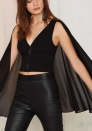 Women Sparkle Cloak Cape Backless Clubwear Tops Blouse Shirt