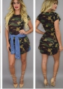 (Only Dress)Womens Camouflage Spaghetti Strap Sleeveless Sexy Bodycon Mini Dress Summer Party Night Club Short Dresses