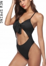 Womens Spaghetti Strap Tie Knot Front Cutout High Waist One Piece Swimsuit