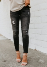 Women's Juniors Distressed Slim Fit Stretchy Skinny Jeans