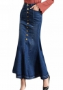 Women's Casual Stretch High Waisted Front Button Long Denim Mermaid Skirt