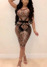 Women Sexy Patchwork Sequin Cap Sleeve See Through Mesh Clubwear Bodycon Mini Dress