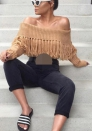 Women's Off Shoulder Long Sleeve Knitted Autumn Winter Tassels Pullover Sweater Jumper Tops Be the first to review this item