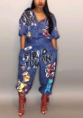 (Not Hat) Women's Baggy Denim Wide Leg Drop Crotch Printed Bib Overalls Jumpsuit Rompers