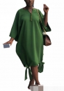 Women'sHalf Sleeves Maxi Dress Casual Solid for Beach Evening Party