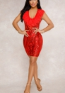 Womens Floral Sequin Embellished Mesh Long Sleeve Bodycon Mini Dress