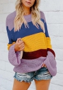 Women's Striped Knit Sweater Casual Warm Contrast Color Pullover Winter Outwear Jumper Top