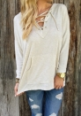 Women's Sexy Plain Deep V Neck Lace up Long Sleeve Blouse Top